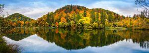 Weerspiegeling, Plitvicemeer in Kroatië van