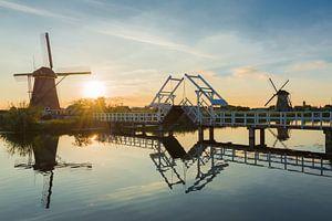 Zomer landschap in Kinderdijk met molens en een ophaalbrug van