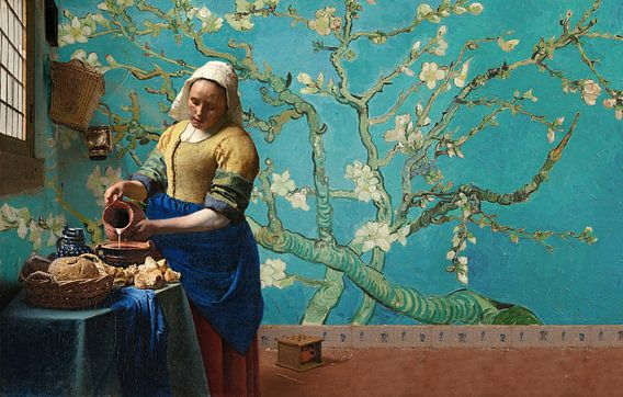Milchmädchen von Vermeer mit Mandelblütentapete van Gogh