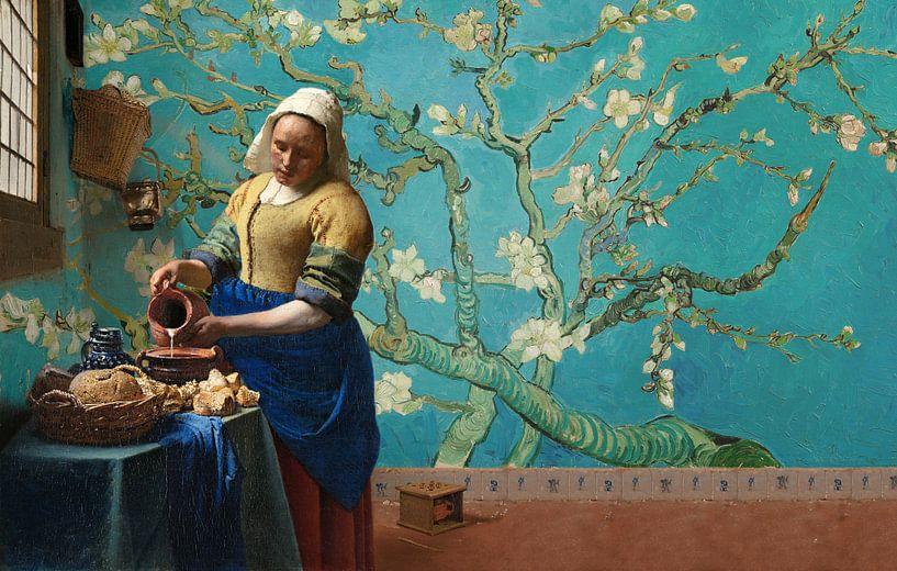 melkmeisje van vermeer met amandel bloesem behang van gogh van lia