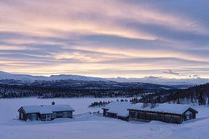 Avondstemming in winterlandschap