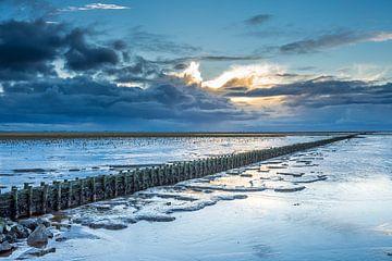 Prachtige lucht boven de waddenzee van Goffe Jensma
