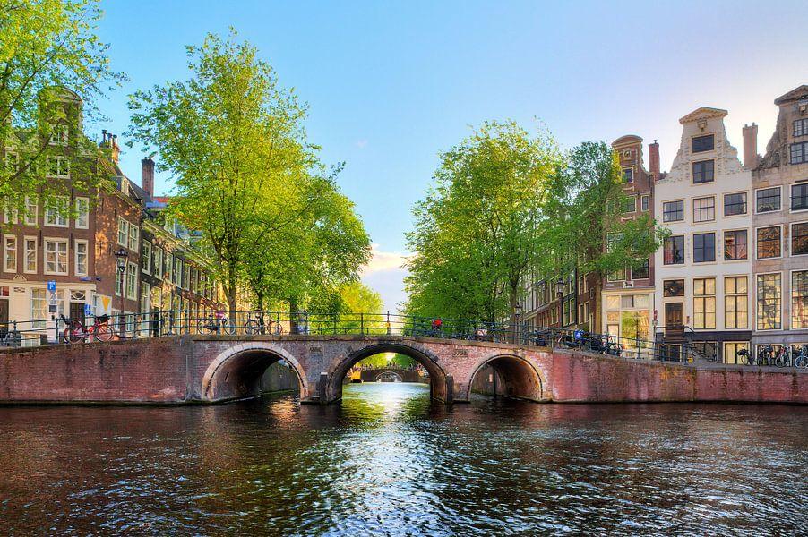 Brug over de Leidsegracht in Amsterdam van Dennis van de Water