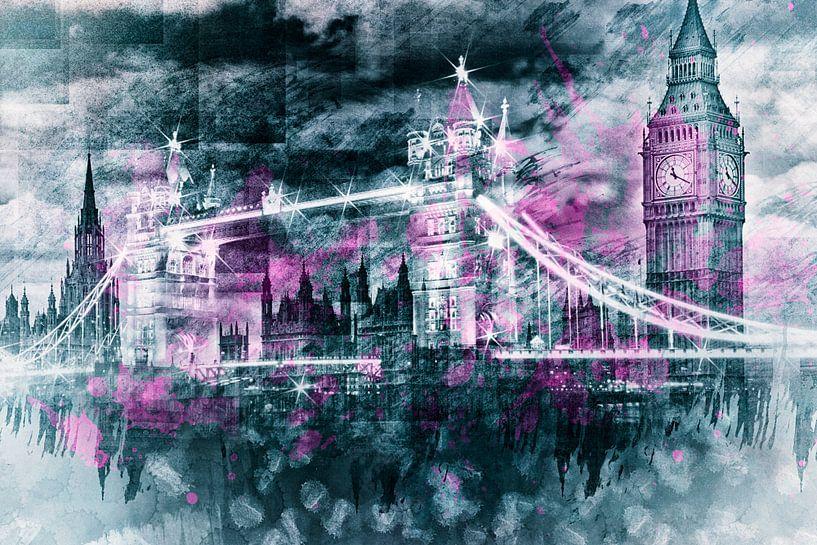Modern-Art LONDON Tower Bridge & Big Ben Composing  van Melanie Viola