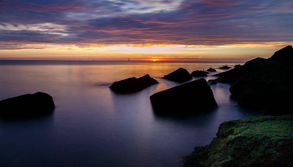 Zonsondergang aan de Noordzee