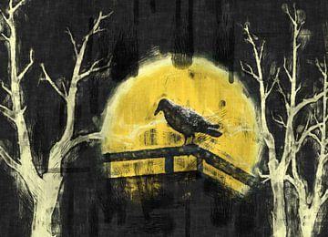 Vogel vor dem Mond van Rosi Lorz