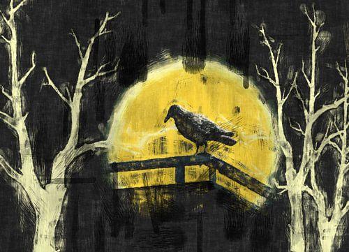 Vogel vor dem Mond von Rosi Lorz