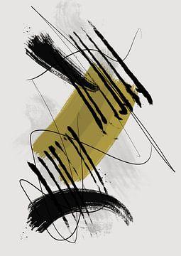 Abstract schilderij met inkt en verfstrepen 2 van Romee Heuitink