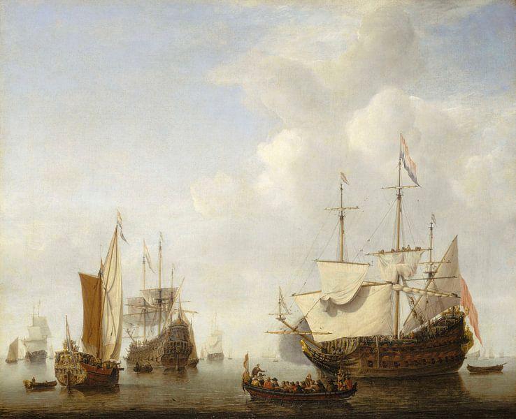 Ein holländisches Kriegsschiff vor Anker, Willen van de Velde der Jüngere von Meesterlijcke Meesters