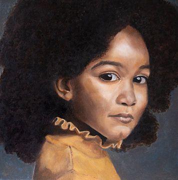 Het meisje in het geel | Kunstprint van Milau Lesmana
