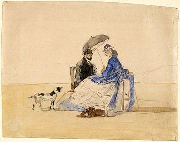 Ein Paar am Strand sitzend mit zwei Hunden, Eugène Boudin