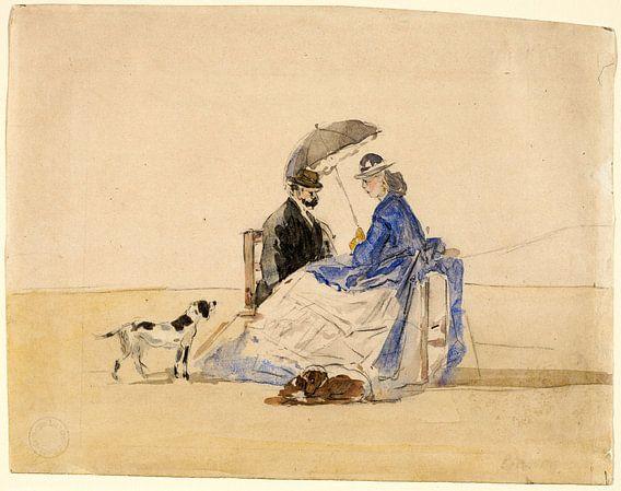 Een paar zittend op het strand met twee honden, Eugène Boudin