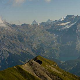 Zicht op de Oeschinensee, Bluemlisalp, Eiger, Monch en Jungfrau van Sean Vos