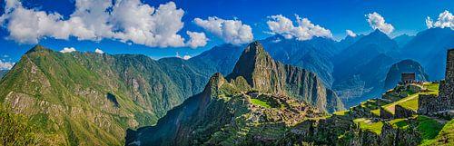Machu Picchu en omgeving, Peru. Panoramafoto