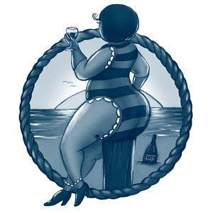 Vet Wuuf proost met wijn aan zee van Bianca van Duijn