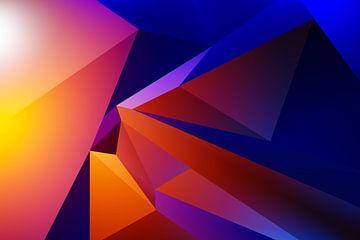 """Futuritisch kubistisch 3d kunstwerk """"Ruimte Reizen"""" van Pat Bloom - Moderne 3d en abstracte kubistiche kunst"""