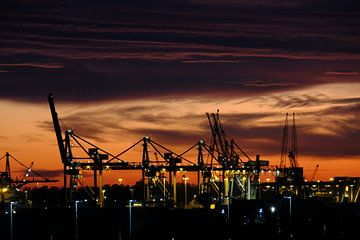 Zonsondergang in Rotterdam van Joris Vand
