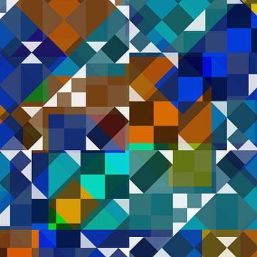 Bauhaus-stijl ruit 12222 Blauw van Claudia Gründler
