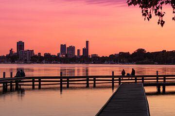 Der Kralingseplas in Rotterdam bei einem wunderschönen Sonnenuntergang von MS Fotografie | Marc van der Stelt