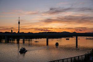Zonsondergang over de Donau
