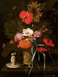 Blumen in einer dekorierten Vase, Maria van Oosterwijck