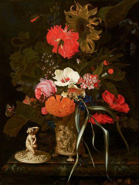 Blumen in einer dekorierten Vase, Maria van Oosterwijck von Meesterlijcke Meesters