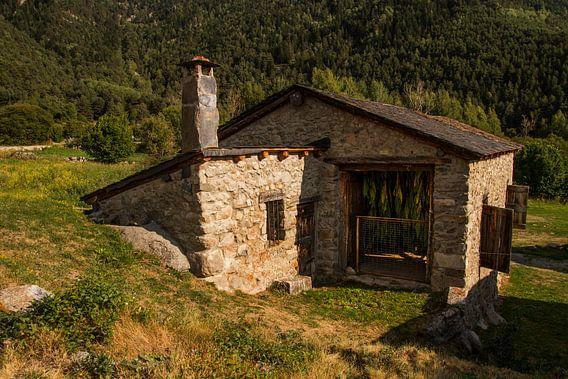 Een oud schuurtje in de Pyreneeën waar de tabaksbladeren te drogen hangen van Paul Wendels