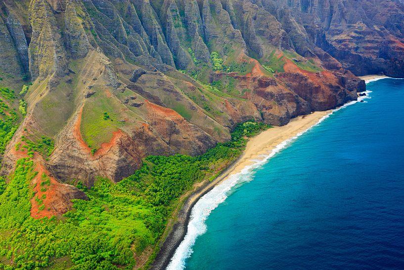 Helicopter View Napali Coast, Kauai, Hawaii van Henk Meijer Photography