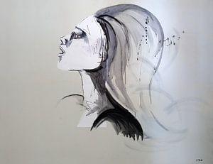 Kunstwerk van een vrouwenhoofd van W J Kok