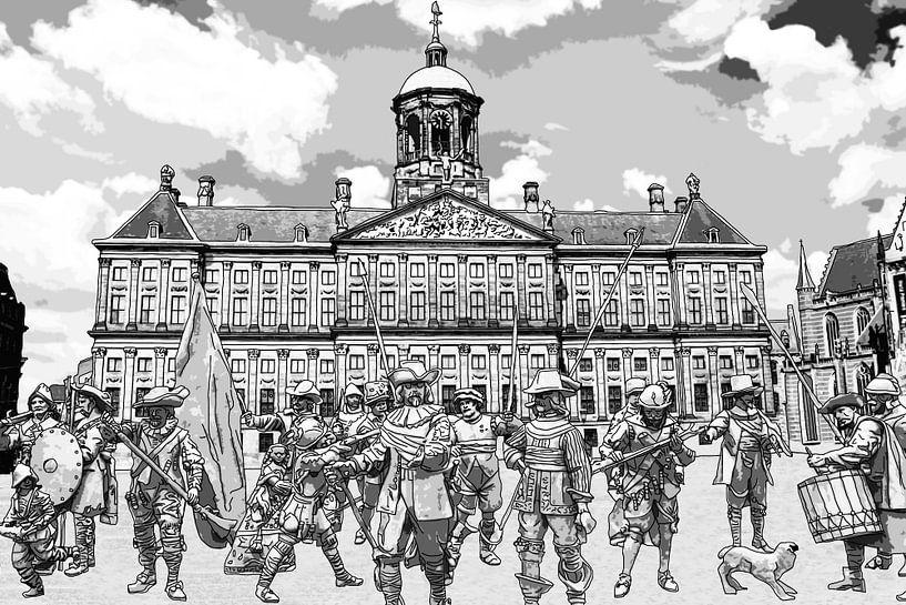 Zeichnung Die Nachtwache auf dem Dam in Amsterdam von Hendrik-Jan Kornelis