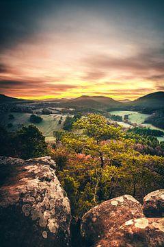 Uitzicht op de natuur bij zonsopgang van Fotos by Jan Wehnert