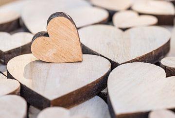 Fond d'amour romantique avec gros plan de plusieurs cœurs en bois sur Alex Winter