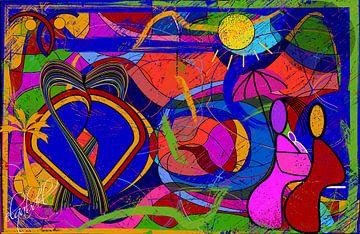 geometrische Form der abstrakten Kunst eines verliebten Paares von EL QOCH