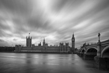 Londen Parliament zwart-wit van Bert Meijer