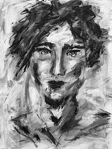 "Abstract portret man ""Woest"" van Bianca ter Riet"