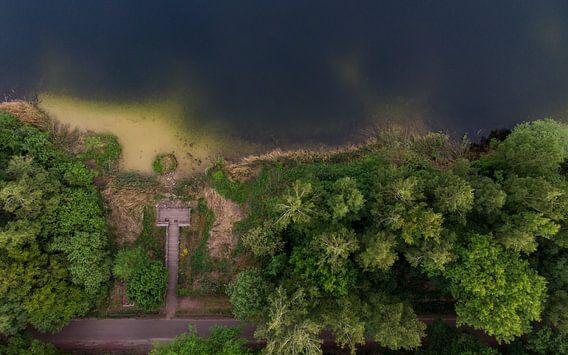 Een meer en bomen van boven van Cynthia Hasenbos