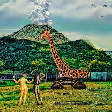 Verlorenes Paradies (Adam und Eva mit Giraffe und Vulkan) von Ruben van Gogh