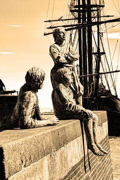 Hoorn Noord-Holland Pays-Bas Garçons du capitaine Bontekoe Sepia sur Hendrik-Jan Kornelis