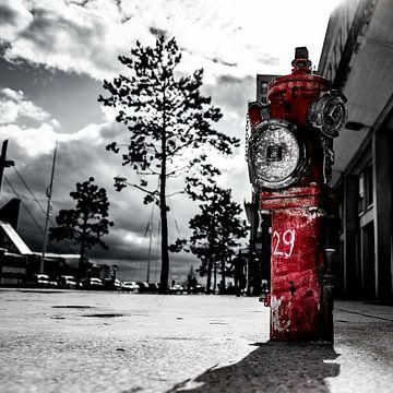 Rode brandkraan tegen een witte zwarte achtergrond van Jan Hermsen