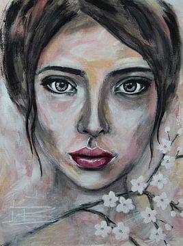 Portret vrouw abstract met kersenbloesem van Bianca ter Riet