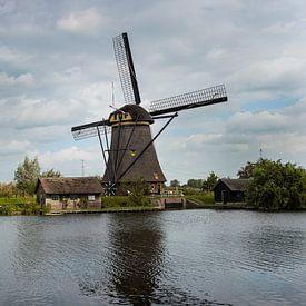 Panorama foto van de molen bij Kinderdijk van Erna Böhre