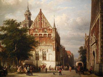 Schilderij Kampen - Stadhuis en Gerechtsgebouw Kampen - Cornelis Springer van
