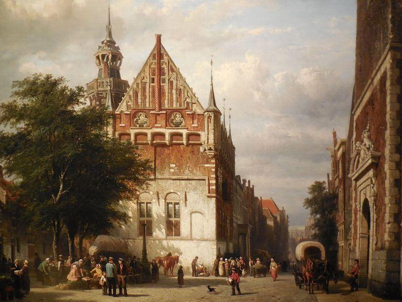 Schilderij Kampen - Stadhuis en Gerechtsgebouw Kampen - Cornelis Springer van Schilderijen Nu