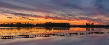 Panorama  zonsondergang nabij Woudbloem, Groningen van Henk Meijer Photography