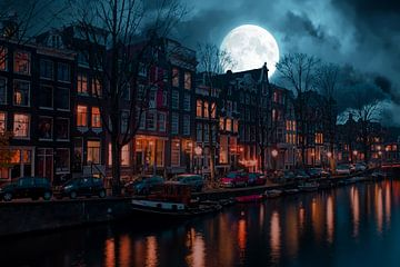 Amsterdam bei Nacht und Vollmond von Nisangha Masselink