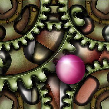 Moderne kunst - Steampunk tandwielen van Patricia Piotrak