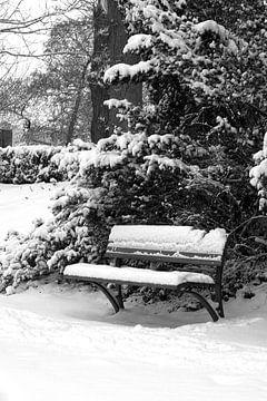 Bankje in de sneeuw van Ronald Hulsebos