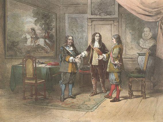 Willem III verzoent Michiel de Ruyter en Cornelis Tromp van Meesterlijcke Meesters