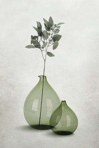 Glazen vazen in transparante grijs-groene tinten