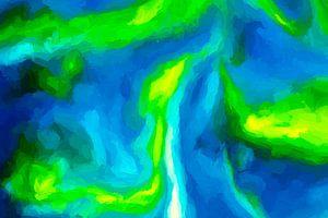 De diepe geulen, zichtbaar tussen de koraalriffen.  van